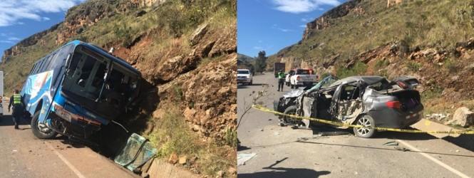 Huancayo: Mujer de 60 años muere en choque de auto con bus de transporte interprovincial.!!