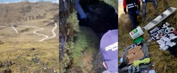 PNP halla material explosivo y pertrechos terroristas en cueva de Paucarbamba.!!